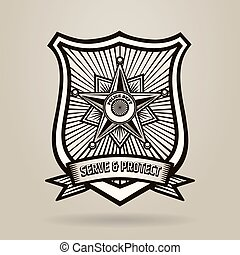 Police Badge with wording Serve and Protect. Illustration in...