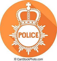 police badge flat icon (police sign)