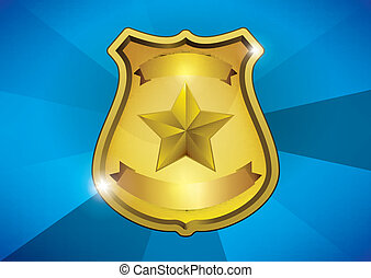 police badge - golden blank shiny medal with place for text