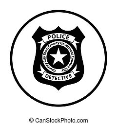 Police badge icon. Thin circle design. Vector illustration.