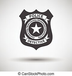 Police badge icon on gray background with round shadow....