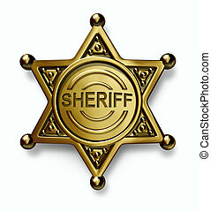 Police badge with the word sheriff embossed in the brass or gold metal emblem with as a symbol of security and law enforcement protection on a white background.