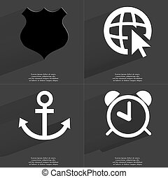 Police badge, Web icon cursor, Anchor, Alarm clock. Symbols with long shadow. Flat design