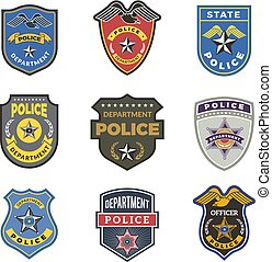 Police badges. Security signs and symbols government...