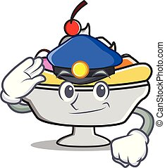 Police banana split character cartoon vector illustration