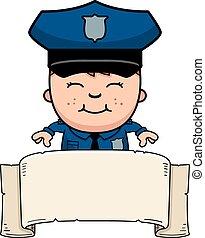 police, bannière, officier