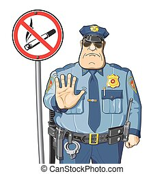 Police bans smoking - Sign - No smoking. Police prevents or...