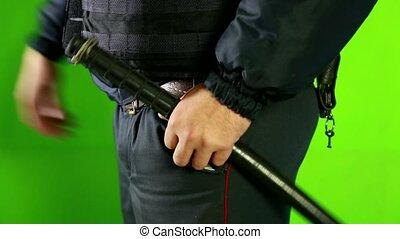 Police baton close-up watch HD