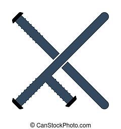 Police Baton Icon. Flat Color Design. Vector Illustration.