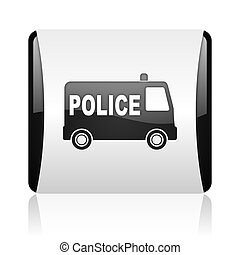 police black and white square web glossy icon