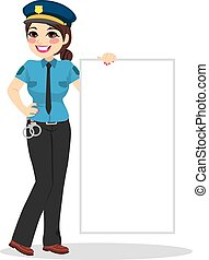 police, blanc, femme, bannière, tenue