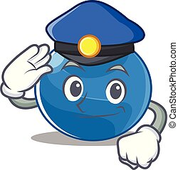 Police blueberry character cartoon style