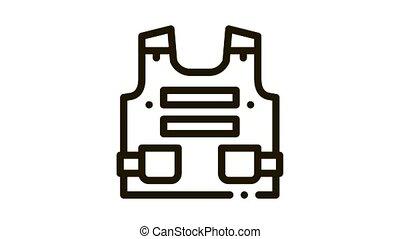 Police Body Safe Armor Icon Animation. black Police Body Safe Armor animated icon on white background