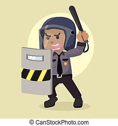 police, bouclier, émeute, officier, tenue, africaine