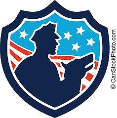 police, bouclier, chien garde, américain, sécurité