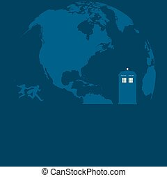 Police Box on the moon with running people vector illustration