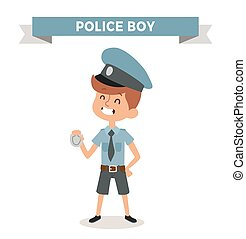 Police boy with sign isolated on white