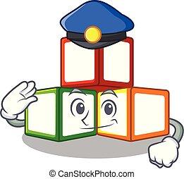 Police bright toy block bricks on cartoon