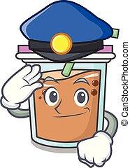 Police bubble tea character cartoon