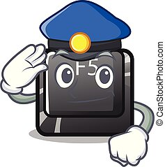 Police button f5 isolated with the character vector illustration