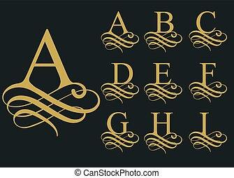 police, caligraphic, vecteur, alphabet., bouclé
