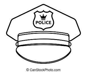 police cap isolated hat cop officer accessory policeman