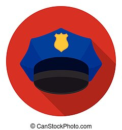 Police cap icon in flat style isolated on white background. Hats symbol stock vector illustration.