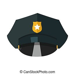 Police cap with golden token realistic vector illustration isolated