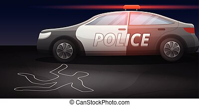 Police car crime investigation concept banner, cartoon style