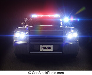 Police car cruiser ,with full array of lights and tactical ...