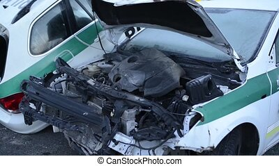 Police car destroyed after vehicle collision. - Police car...