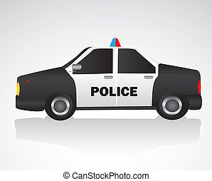 police car isolated on white background, vector illustration