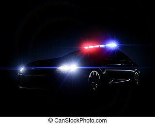 Police car - 3d rendered image