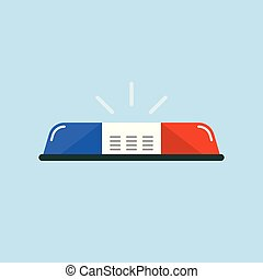 Police car emergency lights in flat style