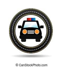 police car front circle road way design