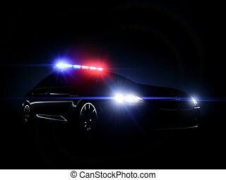 Police car full array of tactical lights. 3d render