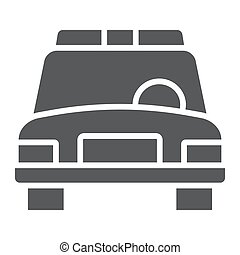 Police car glyph icon, automobile and patrol, cop sign, vector graphics, a solid pattern on a white background.