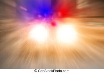 Police car going on emergency call with high speed in the...