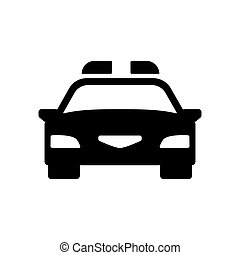 Police car icon. Vector - Police car icon. Silhouette flat...