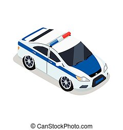 Police Car Illustration in Isometric Projection.