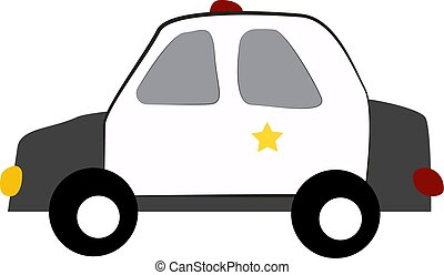 Police car, illustration, vector on white background.