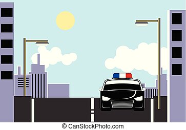 Police car in the street a day vector