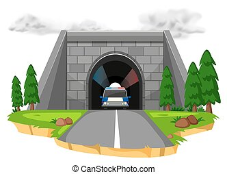 Police car in the tunnel