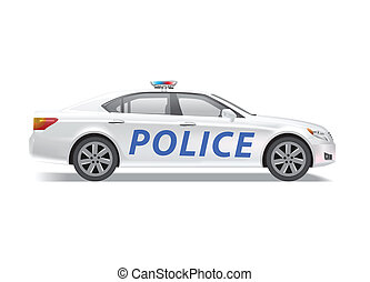 Police car isolated on white background.