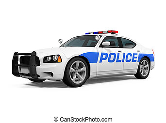 Police Car Isolated - Police Car isolated on white...