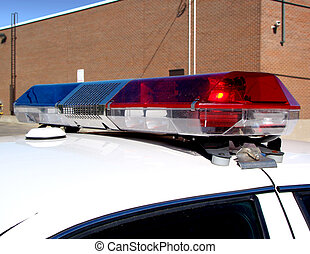 Police car lights - Police patrol car lights on the roof...