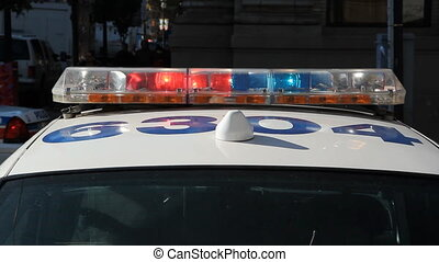 Police car lights. - Toronto police car and flashing lights....