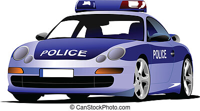 Police car. Municipal transport. Colored vector illustration...