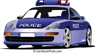 Police car. Municipal transport. Colored vector illustration...
