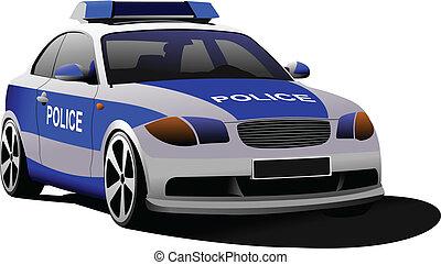 Police car. Municipal transport. Colored vector illustration.